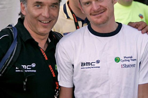 "Floyd Landis with soigneur. Photo copyright Ben Ross/Roadcycling.com/<A HREF=""http://www.benrossphotography.com"" TARGET=_BLANK>www.benrossphotography.com</A>."