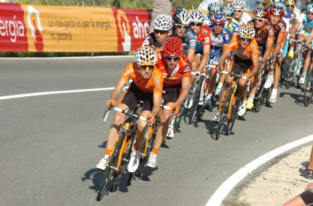 Team Euskaltel leads the peloton. Photo copyright Fotoreporter Sirotti.