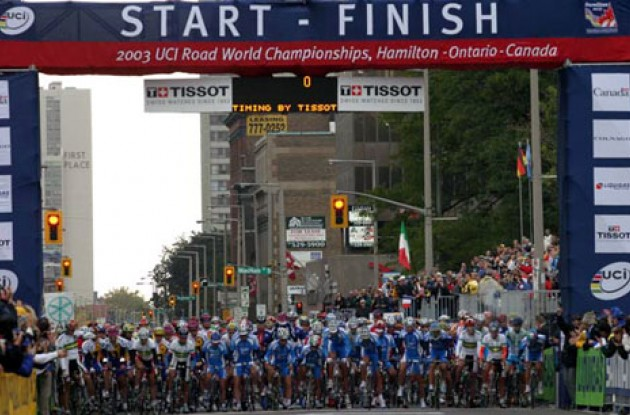 Most of the world's top riders at the start line in Hamilton, Ontario, Canada. Photo copyright Paul Sampara Photography.