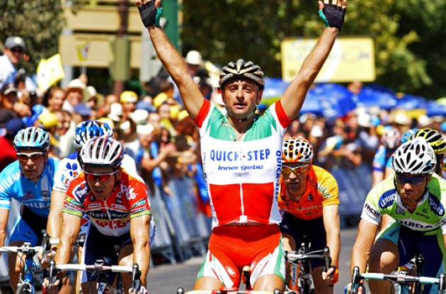Paolo Bettini (Quick Step) takes the stage win. Photo copyright Roadcycling.com.