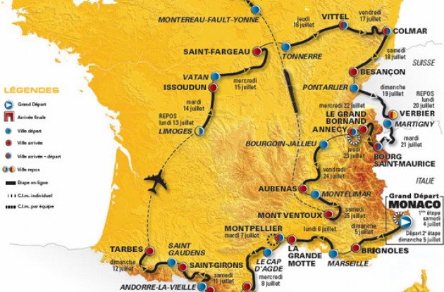 2009 Tour de France route / map.