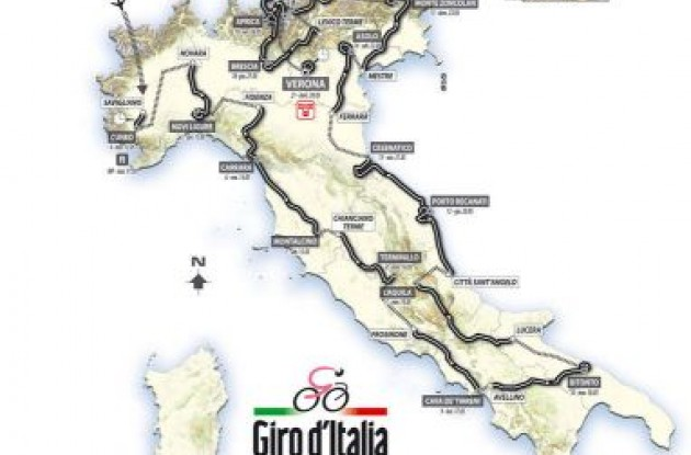 2010 Giro d'Italia route / map .