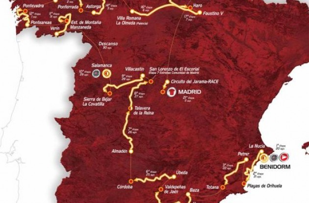 2011 Vuelta a Espana map and list of stages.