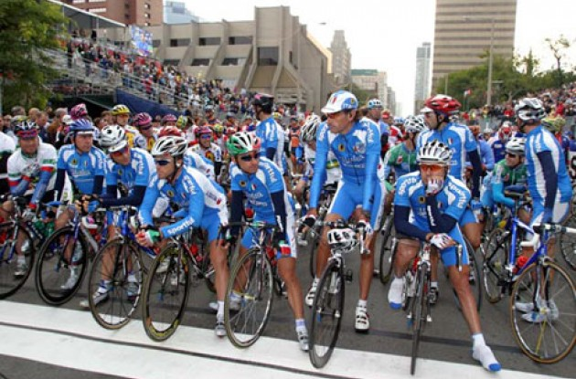 Team Italia waits for the start. Bettini looks set for another win.  Photo copyright Paul Sampara Photography.