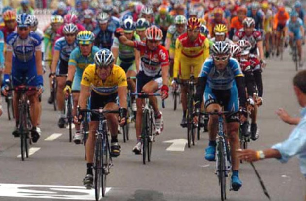 Lance Armstrong and George Hincapie in the 2005 Tour de France. Photo copyright Fotoreporter Sirotti.