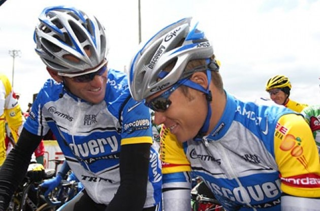 Armstrong and Danielson chat at the start line. Photo copyright Ben Ross/Roadcycling.com/www.benrossphotography.com.