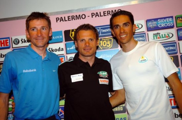 Team Astana at the team presentation in Palermo earlier today.