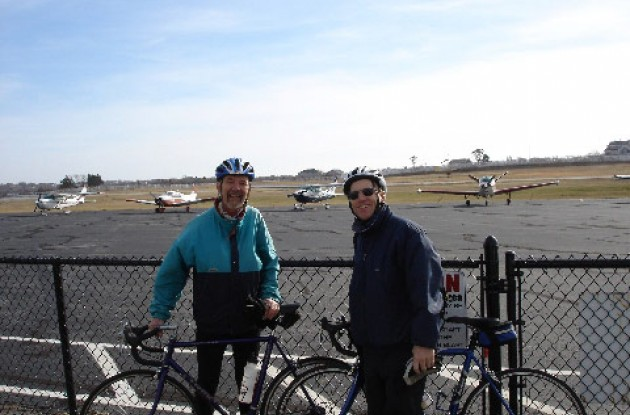 Paul and Woody at Block Island Airport. Photo copyright Roadcycling.com/Paul Rogen.