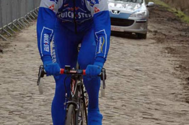 Filippo Pozzato (Quick Step) checks out the renovated Arenberg pavé. Photo copyright Fotoreporter Sirotti.