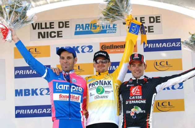 Final top 3 on the podium in Nice. Photo copyright Fotoreporter Sirotti.