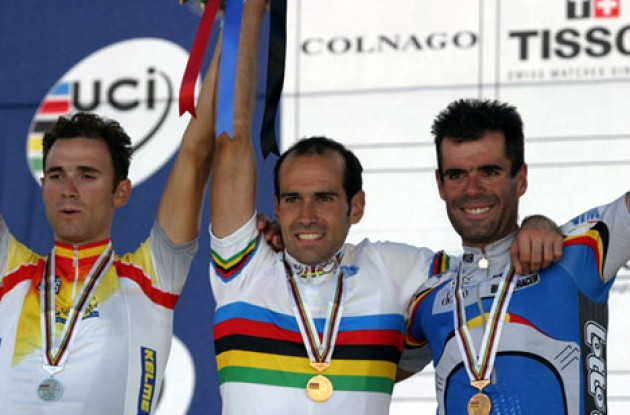 Three proud medalists. Valverde Belmonte (Spain), Astarloa (Spain) and Van Petegem (Belgium). Photo copyright Paul Sampara Photography.