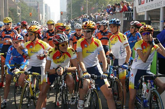 The Spanish team are ready for the start - will they be able to win again today? Photo copyright Paul Sampara Photography.