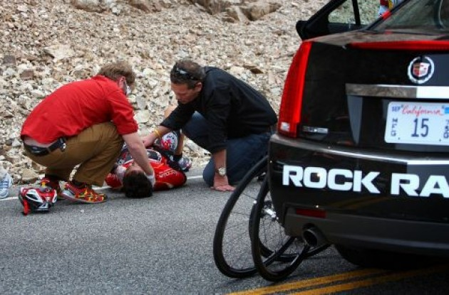 Francisco Mancebo (Team Rock Racing) shortly after his crash. Photo copyright Vero Image.