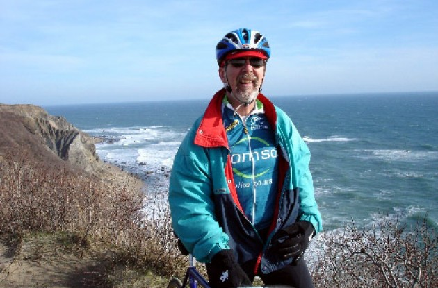 Author with cold North Atlantic. Photo copyright Roadcycling.com/Paul Rogen.