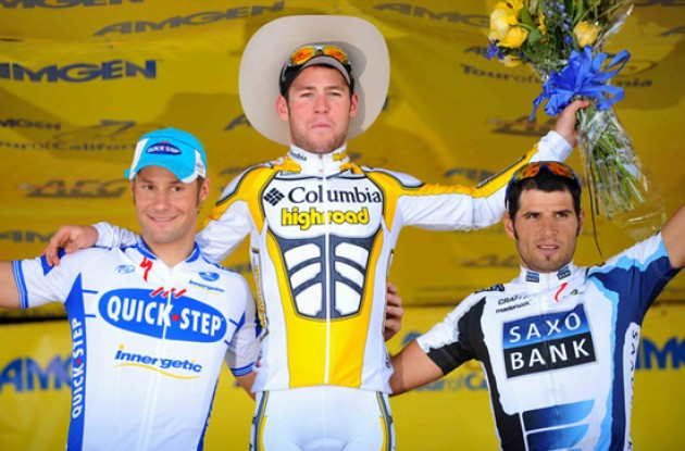 Cavendish, Boonen and Haedo on the podium. Photo copyright TDWsports.com.