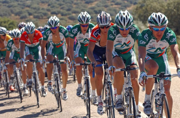 Credit Agricole leads the peloton. Photo copyright Roadcycling.com.