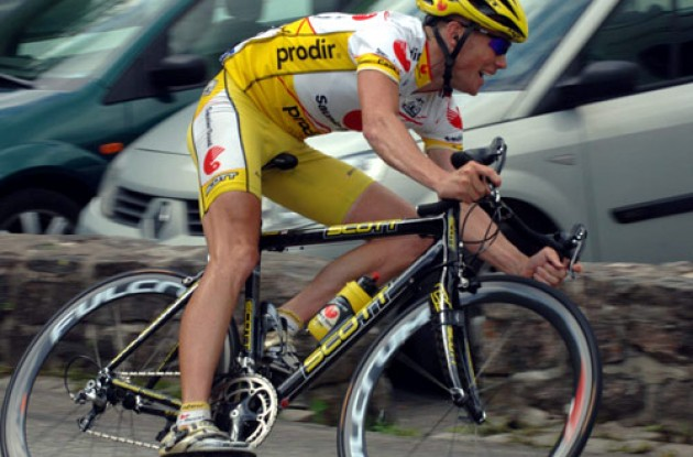 Chris Horner working hard in today's breakaway. Photo copyright Roadcycling.com.