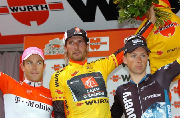 Karpets, Kirchen and Devolder on the podium in Bern, Switzerland.