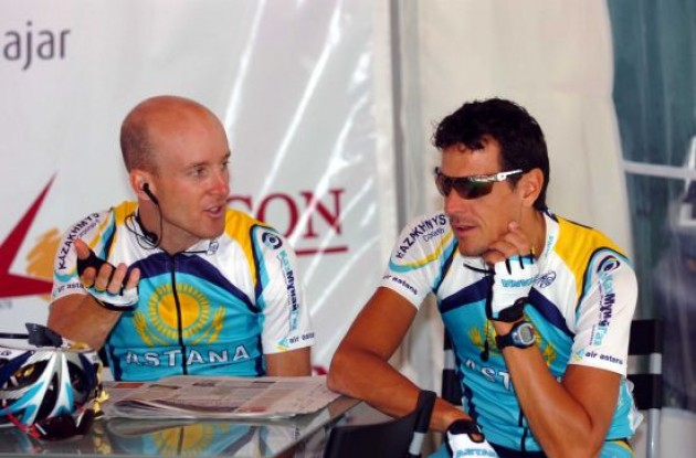 Levi Leipheimer and Andreas Klöden (Team Astana) at the start in Granada.