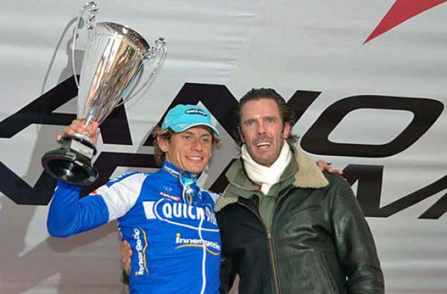 Pozzato and Cipollini on the podium in San Remo - the 2006 season has started! Photo copyright Roadcycling.com.