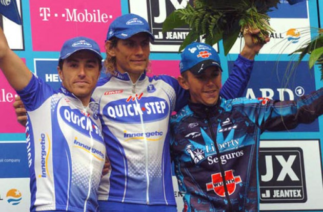 Pozzato, Paolini and Davis on the podium in Hamburg, Germany. Photo copyright Fotoreporter Sirotti.