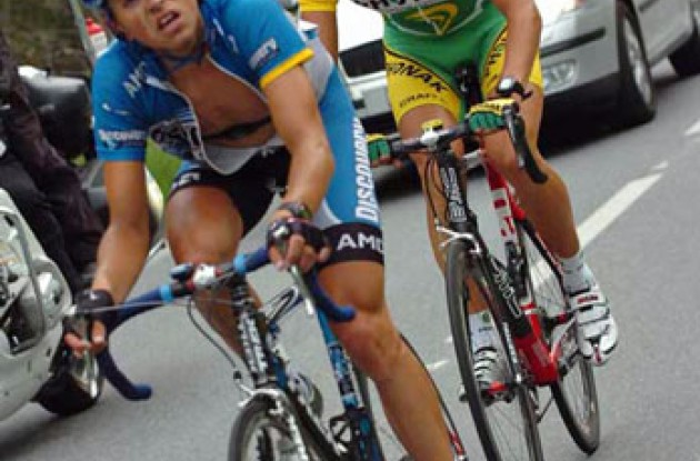Van Goolen and Morabito working hard in today's long breakaway. Photo copyright Fotoreporter Sirotti.
