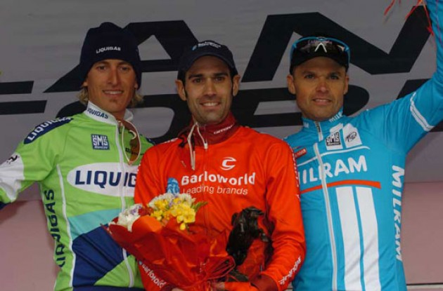 Top 3 on the podium. Astarloa, Pellizotti and Celestino. Photo copyright Fotoreporter Sirotti.