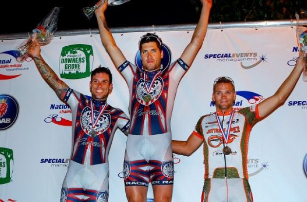 The podium at Saturday's Pro-Am Challenge (from left): Kayle Leogrande (Rock Racing), Sterling Magnell (Rock Racing) and Jonathan Cantwell (Jittery Joe's Pro Cycling).