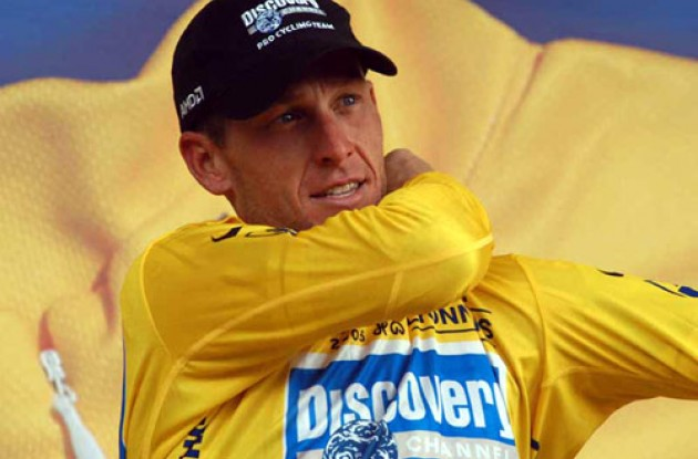 "Lance Armstrong is the ""new"" man in yellow. Photo copyright Fotoreporter Sirotti."