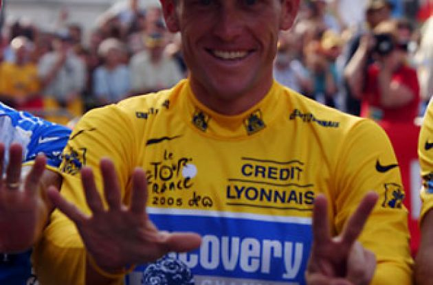 Seven time Tour de France winner Lance Armstrong (Team RadioShack) - will he make it eight this year? Stay tuned to Roadcycling.com to find out! Photo copyright Ben Ross.