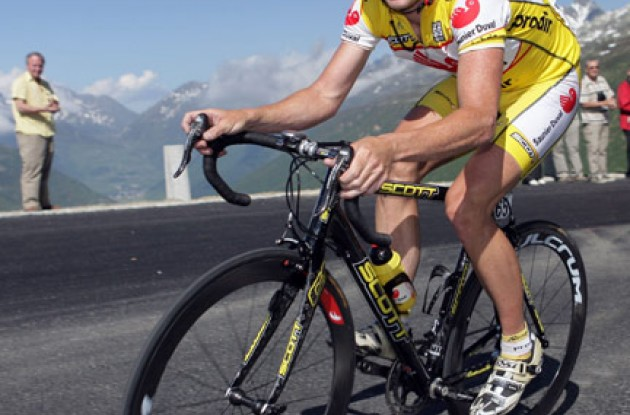 "Chris Horner: ""I'm not too picky. I usually take one water bottle and one bottle of our team's drinks. I really like all of the bars and gels. Those work really well for me."" Photo copyright Roadcycling.com."