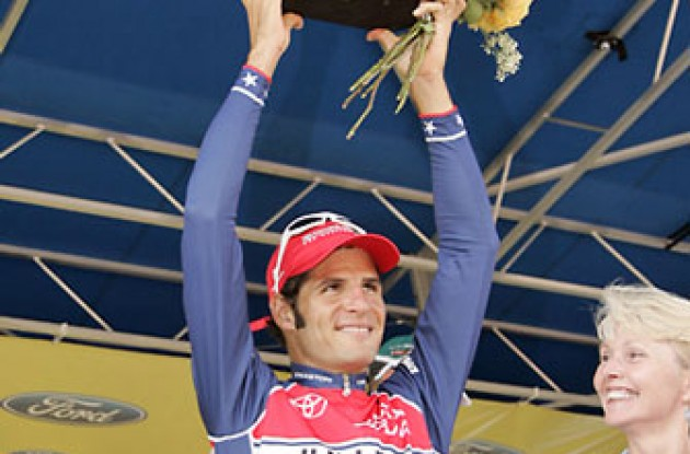 "Haedo with the stage win trophy. Photo copyright Ben Ross/Roadcycling.com/<A HREF=""http://www.benrossphotography.com"" TARGET=_BLANK>www.benrossphotography.com</A>."