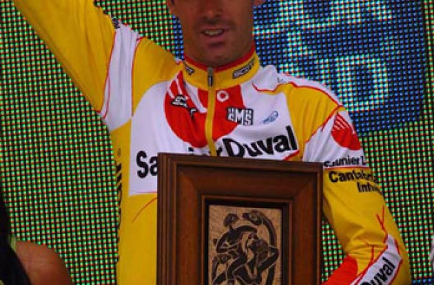 David Millar on the podium. Photo copyright Roadcycling.com.