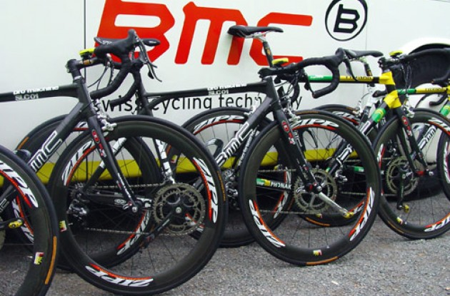 The new and the old guys ... all ready for one more day at work. Photo copyright Roadcycling.com.