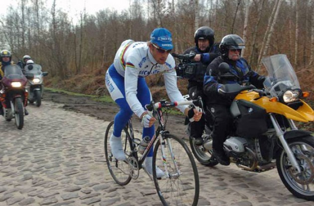 Will World Champion Tom Boonen be the first rider to rach the decisive Arenberg pavé on Sunday? Stay tuned to Roadcycling.com to find out. Photo copyright Fotoreporter Sirotti.