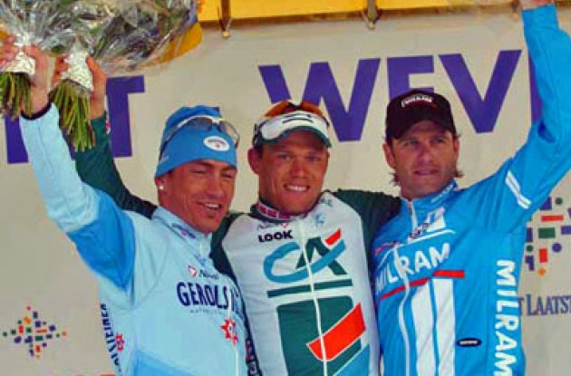 Top 3 on the podium: Hushovd, Kopp and Petacchi. Photo copyright Fotoreporter Sirotti.