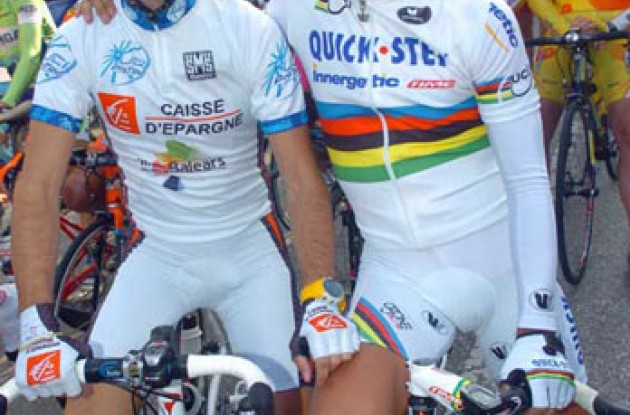 Pro Tour winner Valverde with World Champion Bettini. Photo copyright Fotoreporter Sirotti.