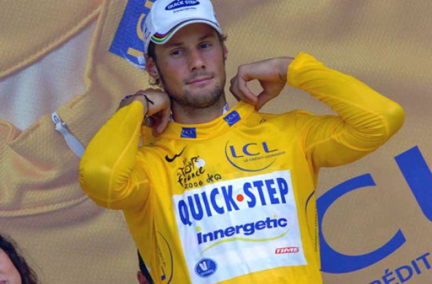 Tom Boonen is still in yellow before tomorrow's important time trial. Photo copyright Fotoreporter Sirotti.