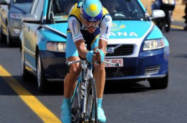 Alberto Contador following Leipheimer's hot trail! Leipheimer burned up the road today.