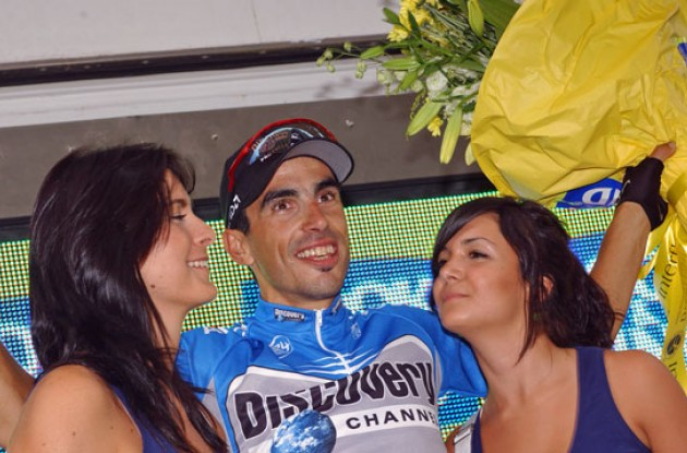 Martinez enjoying life on the podium. Photo copyright Roadcycling.com.
