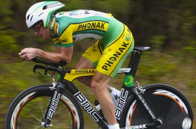 Floyd Landis (Phonak) on his lean, mean, BMC power machine. Photo copyright Casey Gibson.
