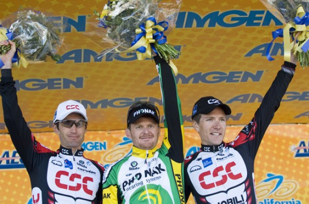Top 3 - Landis, Zabriskie and Julich - on the podium. Photo copyright Roadcycling.com.