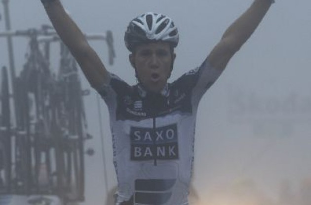 A proud and relieved Chris Anker Sørensen wins stage 8 of the 2010 Giro d'Italia.