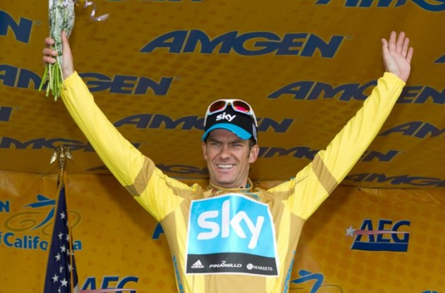 Team Sky's Greg Henderson celebrates his stage win and Tour of California lead on the podium in Modesto.