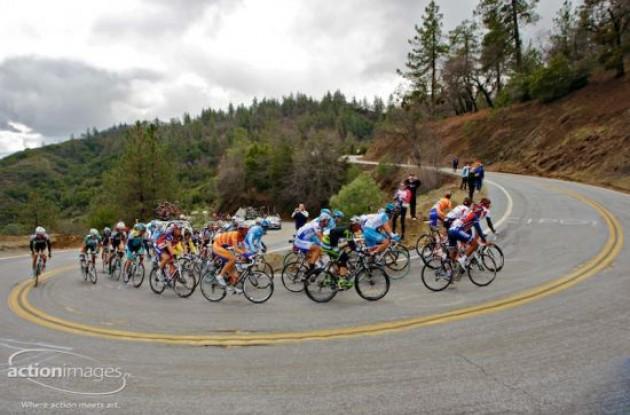 Riders climb.