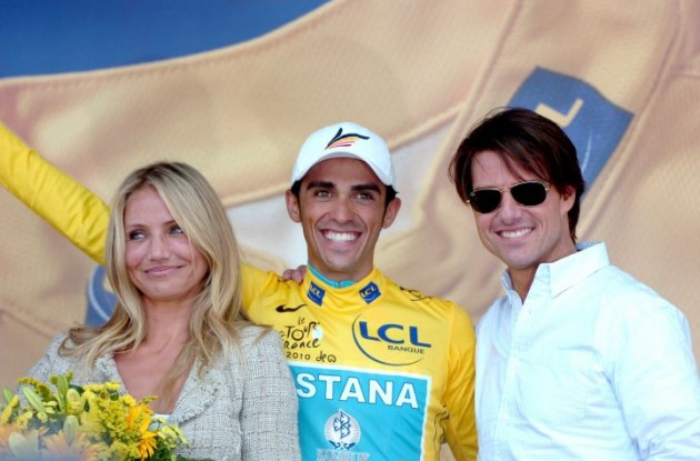 Alberto Contador with Tom Cruise and Cameron Diaz in the 2010 Tour de France - but not in the 2010 cycling World Championships. Photo copyright Fotoreporter Sirotti.
