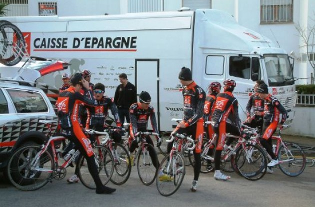 The team gets ready for one more training ride.