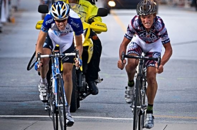 "Tyler Hamilton (Team Rock Racing) and Blake Caldwell (Team Garmin-Chipotle) fight their way to the finish line. Photo copyright <A HREF=""http://pa.photoshelter.com/usr-show/U0000yEwV90OAoAE"" TARGET=""_BLANK"">Ben Ross</A>."