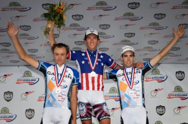 "Top 3 on the podium. Photo copyright <A HREF=""http://pa.photoshelter.com/usr-show/U0000yEwV90OAoAE"" TARGET=""_BLANK"">Ben Ross</A>."