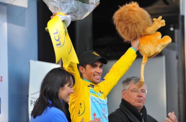 Alberto Contador (Team Astana) is still in yellow. Photo copyright Fotoreporter Sirotti.